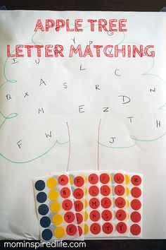 This fun apple alphabet activity works on literacy skills and fine motor skills with a simple letter matching activity and the use of stickers. It's a great learning activity for an apple themed preschool week! Learning Letters, Preschool Learning, In Kindergarten, Learning Activities, Preschool Activities, Teaching Resources, Preschool Apples, Preschool Journals, Small Group Activities