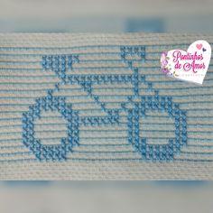 Bicicleta em ponto oitinho Diy Embroidery, Embroidery Stitches, Embroidery Patterns, Knitting Charts, Knitting Patterns, Borboleta Crochet, Swedish Weaving Patterns, Monks Cloth, Beaded Cross