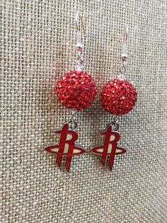 Houston Rockets Earrings Basketball Jewelry Silver by TheBadaBling