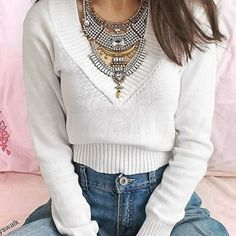 Stones and Gold Statement Necklace - #ootd #warm #autumn #fashion -  24,90 € @happinessboutique.com