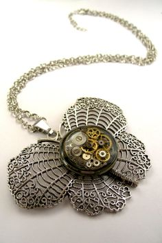 Steampunk Inspired Butterfly Necklace  Filigree by SteamSect, $36.87
