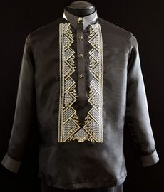Black Organza Barong Tagalog - Barongs R us Semi Formal Wear, Formal Coat, Barong Tagalog Wedding, Filipiniana Dress, Line Shopping, Cool Hoodies, S Shirt, Style Guides, Casual Looks