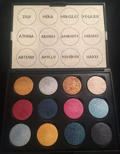 The Mount Olympus Palette *Vegan* Bride Of Frankenstein Costume, Sister Christmas Presents, Beauty Land, Make You Up, Mount Olympus, Wax Stamp, Blue Sparkles, Gods And Goddesses, Swatch