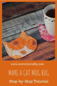 How do I create a Cat Mug Rug ?, How do I create a Cat Mug Rug?Wie erstelle ich einen Cat Mug Rug?How to Make a Cat Mug Rug – – to Make Cat Mug Rugs Use this free pattern and your beginner sewing skills … Small Sewing Projects, Sewing Projects For Beginners, Sewing Hacks, Sewing Crafts, Sewing Tips, Sewing Tutorials, Fabric Scrap Crafts, Sewing Ideas, Sewing Machine Projects