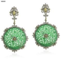 Diamond Pave 84ct Green Jade Earrings 18kt Gold Fashion Jewelry Sterling Silver | eBay