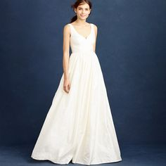 Like the simplicity; would have it hemmed to be shorter perhaps. Neckline doesn't feel very me but could work? | Karlie gown from J Crew in silk dupioni | $1,150