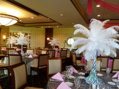 Feather centerpieces with zebra print base for a Bat Mitzvah at the Kernwood Country Club by The Prop Factory, via Flickr