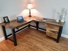 Farmhouse Office Desk in L shape made with reclaimed wood and pipe legs or square steel legs in choice of size and finish and thickness Wood Office Desk, Diy Computer Desk, Diy Desk, Home Office Desks, Corner Desk Diy, Industrial Office Desk, Diy Wood Desk, Office Furniture, Reclaimed Wood Desk