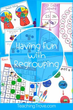 Double digit addition with regrouping can be so much fun with games. Perfect for centers and small groups, your 2nd grade students are going to love learning to regroup with these addition games.#additionwithregrouping #regrouping