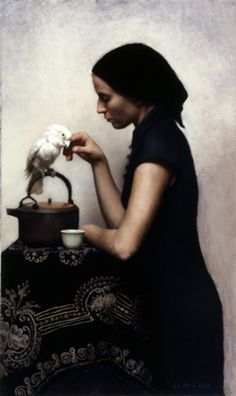 "Louise C. Fenne - Figures in interiors...""Woman with Parrot"""