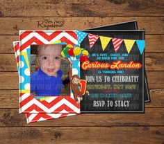 Curious George Invitation Baby 1st Birthday, 2nd Birthday Parties, Curious George Invitations, Custom Birthday Invitations, Turning One, Rsvp, Cute, Kids, Party Ideas