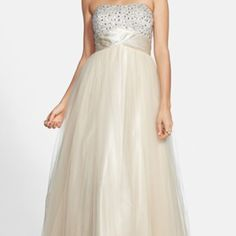 nwt embellished champagne long prom dress champagne ball gown dress... size2... corset in tie in the back... bought from Macy's, still hast tags... never worn because it was too big for me... it is a beautiful dress for prom or formal occasions Dresses Prom