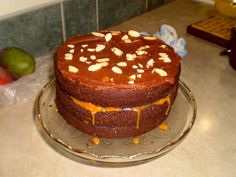 3-Layer Chocolate Cake with Caramel, Almond and Coconut Filling.