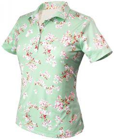 a3fa093e7a0 CLEARANCE Monterey Club Women s Plus Size Flower Blossom Short Sleeve Golf  Shirts- Mint Green Butter