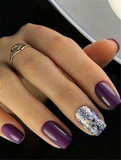 Square Nail Designs, Nail Polish Designs, Acrylic Nail Designs, Nails Design, Acrylic Gel, Nail Designs For Toes, Maroon Nail Designs, Accent Nail Designs, New Years Nail Designs
