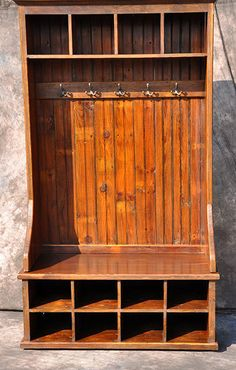 Reclaimed Wood Hall Tree Bench Mudroom Orgnaizer with Cubbies Reclaimed Wood Furniture, Reclaimed Barn Wood, Solid Wood Furniture, Rustic Furniture, Rustic Wood, Furniture Ideas, Antique Furniture, Modern Furniture, Western Furniture