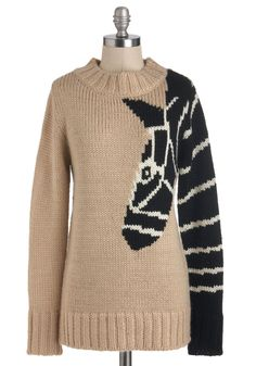 Arm and a Leg-up Sweater - Mid-length, Tan, Black, Knitted, Casual, Safari, Long Sleeve