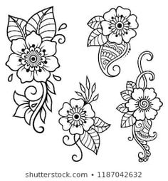 Set of Mehndi flower pattern for Henna drawing and tattoo. Decoration in ethnic oriental, Indian style. Set of Mehndi flower pattern for Henna drawing and tattoo. Decoration in ethnic oriental, Indian style. Henna Tattoo Designs, Henna Tattoo Muster, Henna Tattoo Hand, Muster Tattoos, Flower Tattoo Designs, Mehndi Designs, Henna Designs Drawing, Flower Designs For Painting, Tattoo Ideas