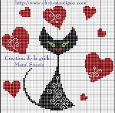 Le Chat Noir Stylisé aux cœur : grille gratuite à broder