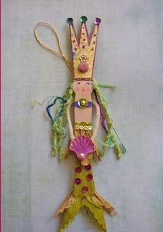 Mermaid clothes pin doll. Love this!