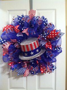 Fourth of July wreath/ mesh wreath by Wreaths4u2byPaula on Etsy, $55.00
