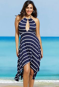 a2248427579 Nautical Plus Size Key Hole Halter Dress Navy And White