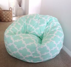 STUNNING MODERN MOROCCAN QUATRAFOIL DESIGN. First main photo is Mint Last photo is Seafoam There are so many colours to choose from in this design I cant load all of the photos so If you are interested in a colour that is not photographed please contact me to send you a photo of the fabric. Small Bean Bag (suitable for toddlers to small children up to approx 8 years) measures approx 70cm wide x 60cm high when filled and held at the tip of the bag. Takes about 1.5 bags of the 100 litre bags…