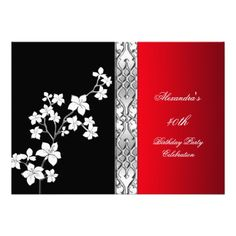 Asian Red Black Floral Silver White Birthday Party Announcement