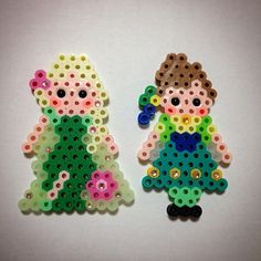 Elsa and Anna - Frozen Fever perler beads by ringo_0122
