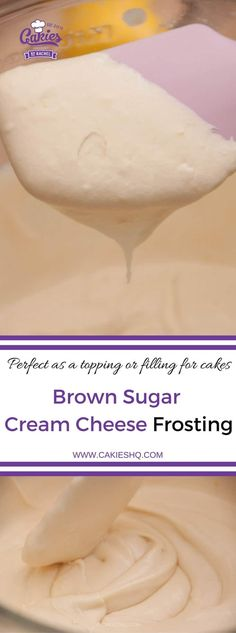 Brown sugar cream cheese frosting is delicious as a topping for cupcakes or filling for cakes. The brown sugar adds a hint of caramel to the frosting. #frosting #recipe #recipes #creamcheese