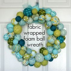 Fabric foam ball wreath from Vanilla Joy.