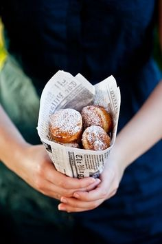 beignets...but would do this in brown paper bag for the campfire ones