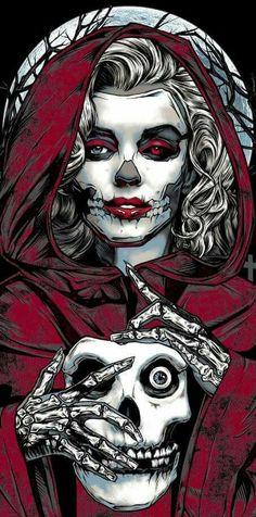 — by Rhys Cooper Horror Artwork, Skull Artwork, Dark Fantasy Art, Rock Vintage, Marilyn Monroe Tattoo, Totenkopf Tattoos, Sugar Skull Girl, Sugar Skulls, Day Of The Dead Art
