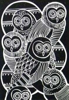 Owls Original Lino Cut Print (Black)