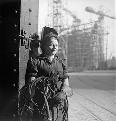Credit: Cecil Beaton /Imperial War Museum  A welder works on the deck of a new ship, Tyneside, 1943