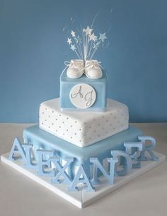 Baptism Cake Ideas For Adults Christening Best Images On Baking Fours And Sugar Torta Baby Shower, Baby Shower Cakes For Boys, Baby Boy Christening Cake, Baby Boy Christening Decorations, Christening Cake Designs, Baby Shower Garcon, Bolo Minnie, Cake Works, Cake Makers