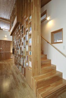 書棚を兼ねるロフトへの階段 Stair Handrail, Staircase Railings, Home Library Design, House Design, Bookcase Stairs, Model Home Decorating, Interior Stairs, Wooden Projects, Shelf Design