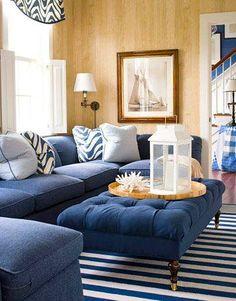 Beautiful Classic Navy Blue Coastal Living Room - Caron's Beach House