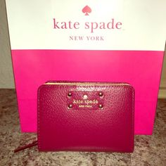 """TAKE 35% OFF Kate Spade """"Cara"""" Wallet NWT NWT Kate Spade """"Cara"""" Wallet of the Wellesley collection in a """"Posh"""" Red with 9 compartments - 1 outside on back and 8 inside for $ and cards including ID. Plus a 2 sided zip enclosure for coins & valuables. kate spade Bags Wallets"""