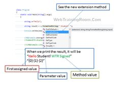 C# Extension methods Example, Extension methods in C How to call Extension methods in .Net, how to create a extension method in C learn c# extension method example step by step C Tutorials, Learn C, Meaningful Names, Class Library, Best Practice, Extensions, Student, Writing