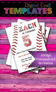 Personalized Printable Invitations | Little Slugger | Baseball | Birthday Party | #218