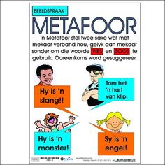 "Full colour wall chart / poster about a metaphor, in Afrikaans "" Metafoor "". This chart explains what a metaphor is and gives examples such as: Hy is 'n slang! Sy is 'n engel! Quotes Dream, Life Quotes Love, Education Humor, Kids Education, School Resources, Teacher Resources, Afrikaans Language, English Posters, Sound Words"