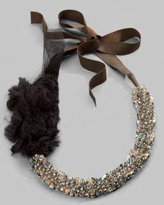 Vera Wang Rhinestone & Rosette Necklace / Saks Fifth Avenue