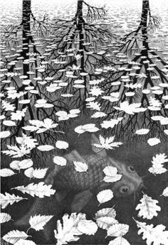 Three Worlds, 1955, M.C.Escher