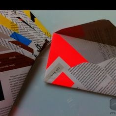 Recycled Magazine Envelopes UpCycled Text And Color