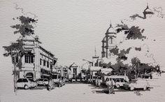 Old City - Semarang, Indonesia, by Agungdwie via Urban Sketchers on Facebook