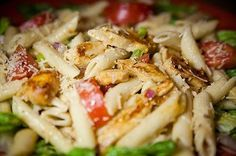 Craving a salad for lunch today? Try our Fajita Chicken Penne Salad - penne pasta, fajita-grilled chicken, green peppers, red onions, roma tomatoes, parmesan, light italian dressing, bed of romaine.