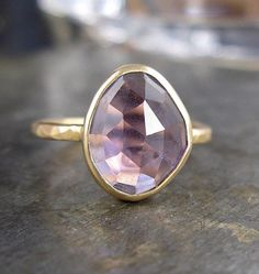 Brazillian Amethyst and Recycled 14k Gold Ring
