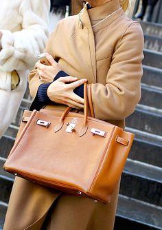 camel coat + Hermès birkin