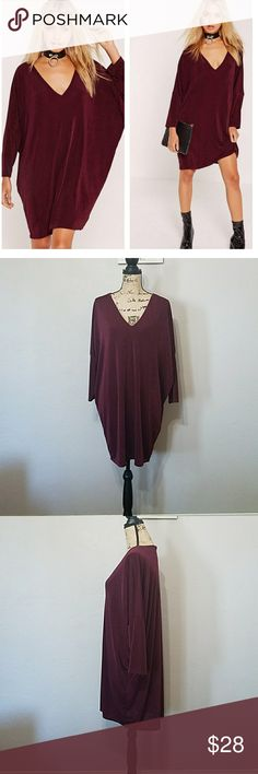 Missguided Oversized V-neck Burgundy Dress. NWT Missguided Oversized V-neck Burgundy Dress. Batwing sleeve, regular/stretch fit. 95% polyester 5% elastane. Please refer to last picture for Missguided sizing. Feel free to ask any questions before purchase. Bundle & Save. Offers welcome. Missguided Dresses